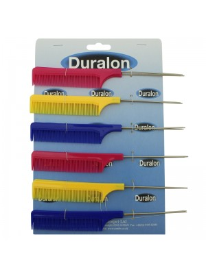 "Duralon 8"" Metal Pin Tail Comb - Assorted Colours"