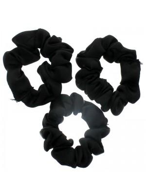 Satin Fabric Hair Scrunchies - Black