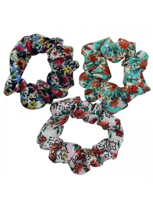 Floral Printed Scrunchies - Assorted Colours