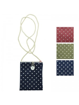 Polka Dot Fabric Purse with Shoulder Strap