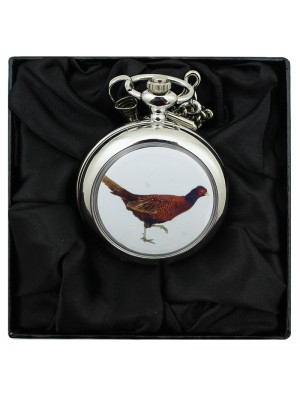 Pheasant Print Pocket Watch with Chain - Silver