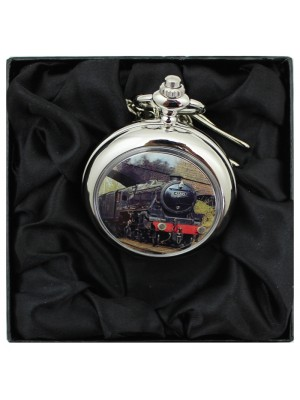 Train Print Pocket Watch with Chain - Silver
