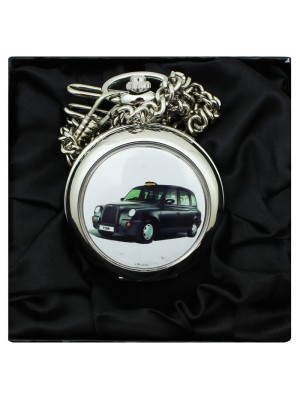 Black Cab Print Pocket Watch with Chain - Silver