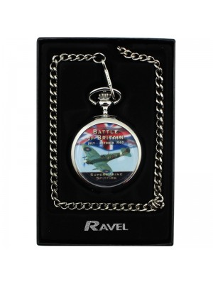 Battle of Britain Print Pocket Watch with Chain - Silver
