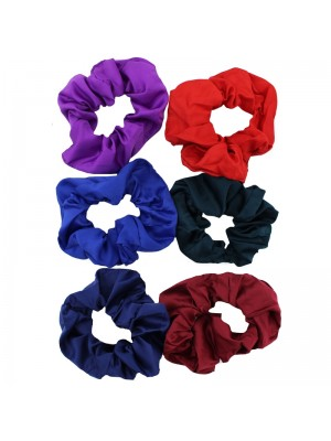Small Plain Satin Fabric Scrunchies - Assorted Colours