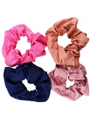 Plain Satin Scrunchies - Assorted Colours