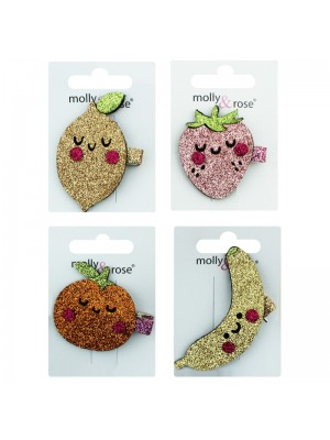 Children's Fabric Glitter Fruit Clips