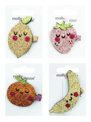 Wholesale Children's Fabric Glitter Fruit Clips