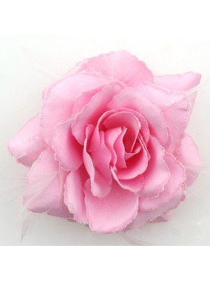 Rose Flower on Elastic and Clips - Baby Pink