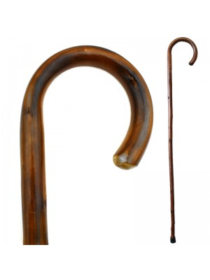 Chestnut Flame Scorched Crook Walking Stick