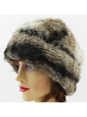 Ladies Turn up Fur Hat with Quilted Lining - Cream and Brown