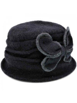 Wholesale Ladies Wool Vintage Cloche Hat - Butterfly - Black