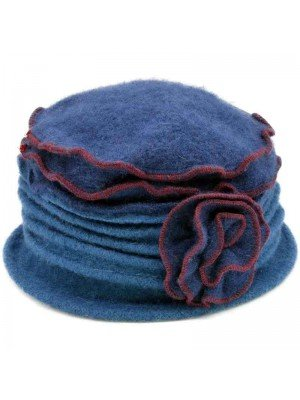 Wholesale Ladies Wool Vintage Cloche Hat - Rose - Blue