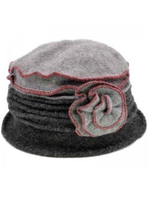 Wholesale Ladies Wool Vintage Cloche Hat - Rose - Grey