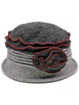 Wholesale Ladies Wool Vintage Cloche Hat - Rose - Dark Grey