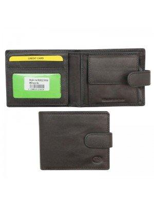 Wholesale Men's Florentino Leather Wallet With Closure Button Black