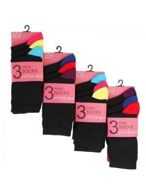 Wholesale Ladies Black Socks With Coloured Toes & Heels (3 Pair Pack) - Asst.