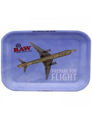 "Wholesale RAW Rolling Metal Tray ""Prepare For Flight"" - Small (27 x 18 cm)"