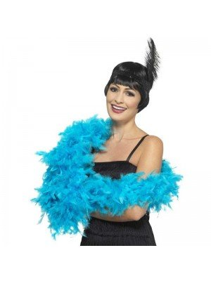 Feather Boa Turquoise Blue Deluxe 180cm Long