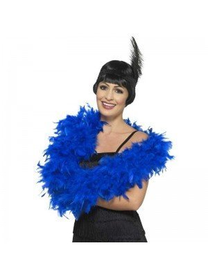 Feather Boa Royal Blue Deluxe 180cm Long