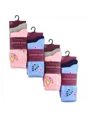 Wholesale Ladies Cashmere Blend Socks - Foxbury (2 Pair Pack) - Asst.