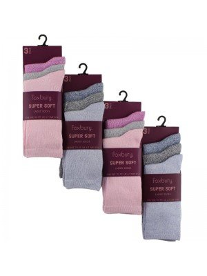 Wholesale Ladies Super Soft Socks (3 Pair Pack) - Asst.