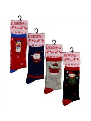 Wholesale Ladies Cotton Rich Christmas Novelty Socks (1 Pair Pack) - Asst.