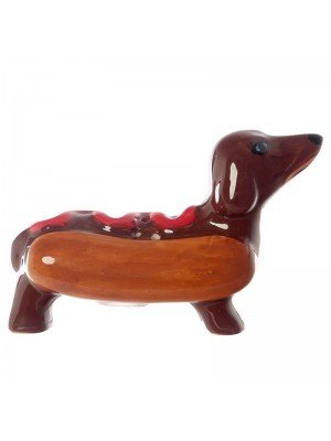 Ceramic Fast Food Sausage Dog and Ketchup Salt and Pepper Cruet Set