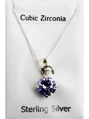 Sterling Silver CZ Claw Set Pendant with Crystal - Lilac (8mm)