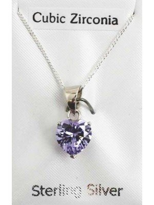 Sterling Silver CZ Heart Shape Pendant with Crystal - Lilac (8mm)