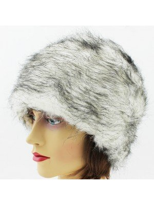 Ladies Fur Hat with Fleece Lining - White and Black
