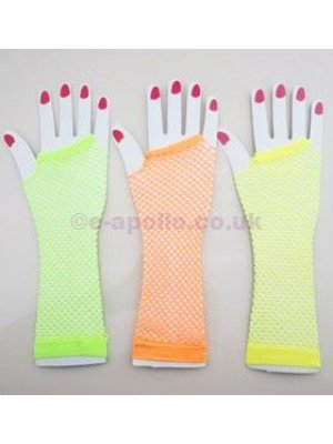 Long Ladies Fishnet Gloves (Assorted Colours)