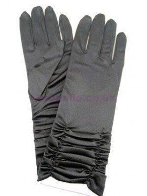 Ladies Short Ruched Satin Gloves - Black