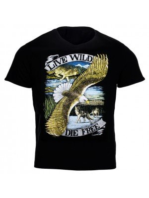 """Live Wild, Die Free"" Printed T-Shirt"