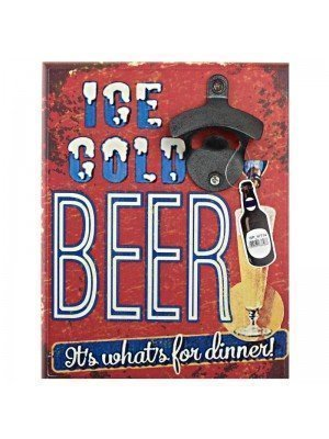 """Wooden """"Ice Cold Beer That's All For Dinner"""" Bottle Opener"""