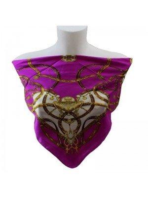 Ladies Square Scarves - Chains Design (Fuchsia)