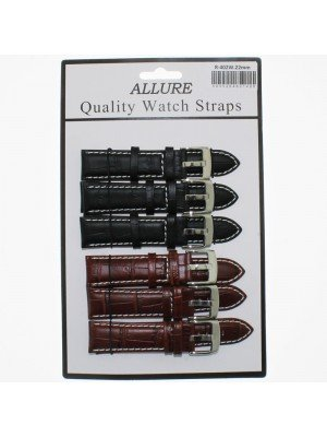 'Allure' Black and Brown Croc Grain Stitched Leather Watch Straps - 22mm