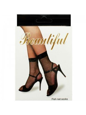'Beautiful' Fishnet Socks (One Size) - Black