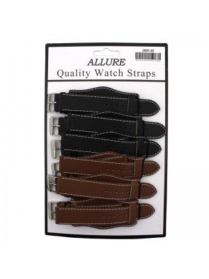 Wholesale Allure Plain Leather Watch Straps With Pad - Tan And Brown - 20mm