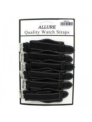 Wholesale Allure Plain Leather Watch Straps With Pad - Black - 22mm