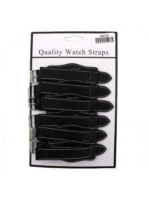 Wholesale Allure Plain Leather Watch Straps With Pad - Black - 20mm