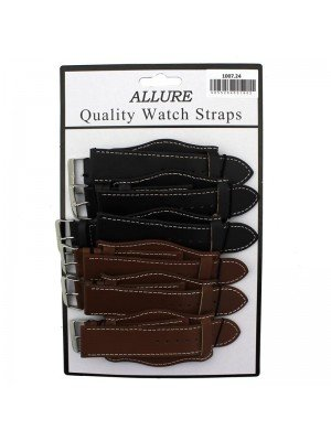 Wholesale Allure Plain Leather Watch Straps With Pad - Tan And Brown - 24mm