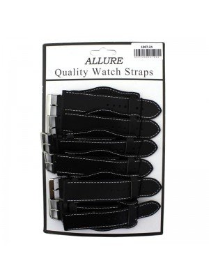 Wholesale Allure Plain Leather Watch Straps With Pad - Black - 24mm