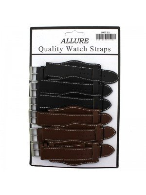 Wholesale Allure Plain Leather Watch Straps With Pad - Tan And Brown - 22mm