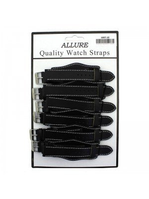 Wholesale Allure Leather Watch Straps With Pad - Black - 18mm
