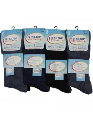 Wholesale Men's Flexi-Top Non Elastic Diabetic Socks - Assorted Colours