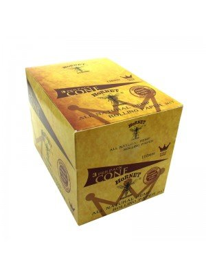 Wholesale Hornet King Size Natural Hemp Rolling Paper Cones - 24 Cones
