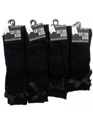 Wholesale Girls School Cotton Rich Knee-High Socks - Black (Assorted Sizes)