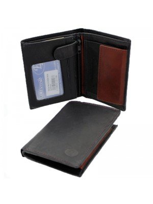Wholesale Men's Florentino Leather Wallet With 9 Card Slots - Black/ Red+Brown