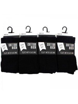 Wholesale Girls School Cotton Rich Tights with Elastane - Black